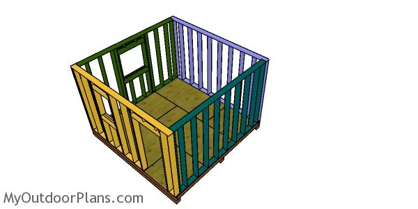 Assembling the shed frame - heavy duty 12x12 storage shed