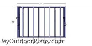 Back wall frame - 12x12 storage shed