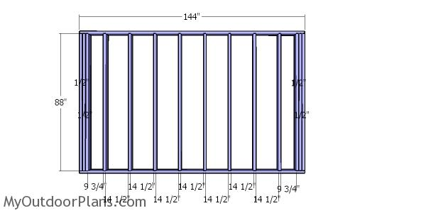 Back wall frame - 12x12 storage shed
