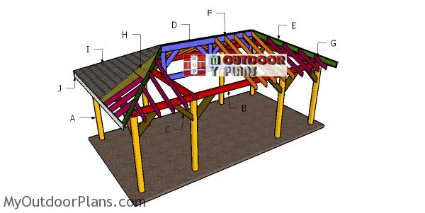 Building-a-one-car-carport-with-hip-roof