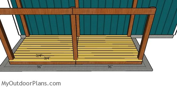 Fitting the floor slats - Wood Shed
