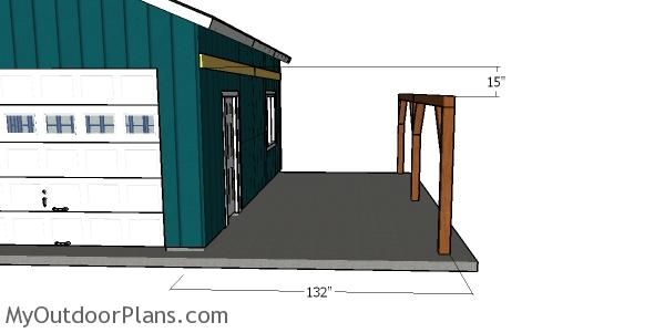 Fitting the ledger boards - attached carport