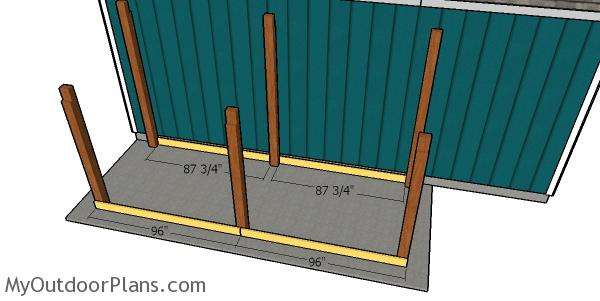 Fitting the rim joists - diy woodshed