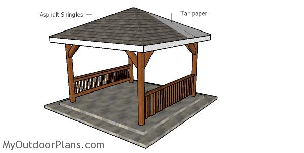 Fitting the roofing - 12x12 gazebo