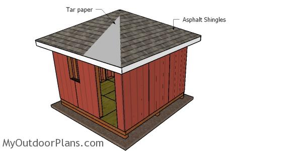 Fitting the roofing - 12x12 shed with hip roof