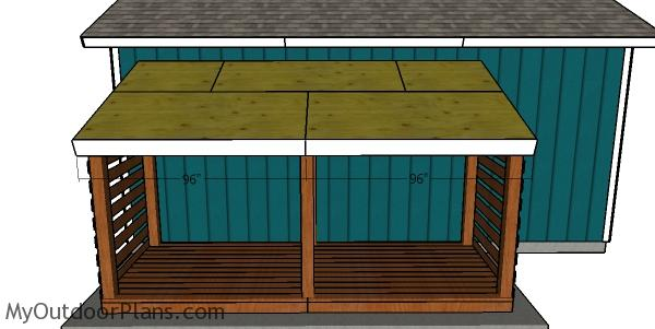 Front roof trims - Attached firewood shed