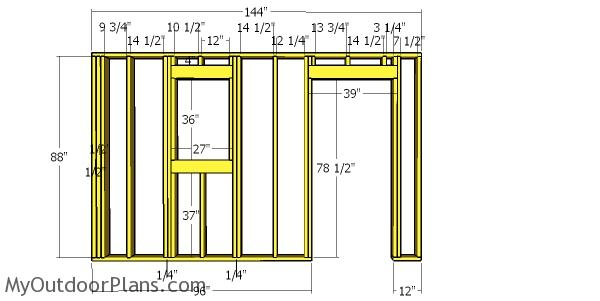 Front wall frame - 12x12 shed with hip roof