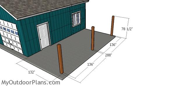 Laying out the posts for the attached carport