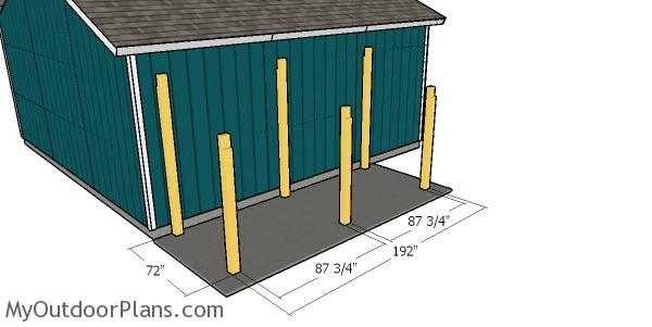 Laying out the posts for the firewood shed