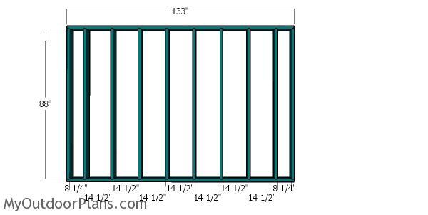 Plain side wall frame - 12x12 Shed