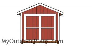 10x24 Gable Shed Plans - front view