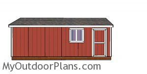 10x24 Gable Shed Plans - side view