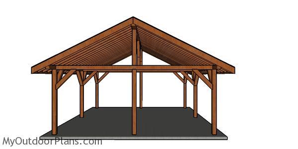 20x24 Pavilion Plans - front view