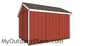 8x12 Firewood Shed Plans - back view