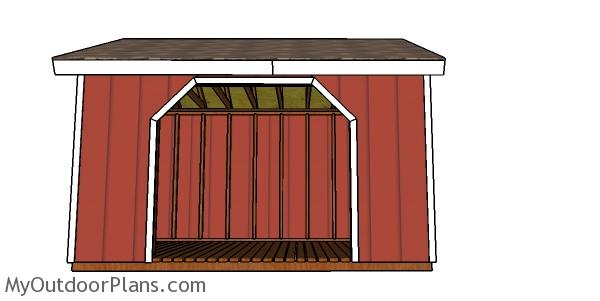 8x12 Firewood Shed Plans - front view