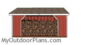 8x16 Firewood Shed Plans - Front view