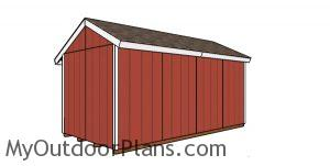 8x16 Firewood Shed Plans - back view