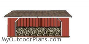 8x20 Firewood Shed Plans - front view