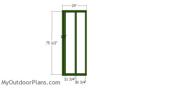8x20 Firewood Shed - Side front wall frames