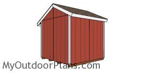 8x8 Firewood Shed Plans - back view