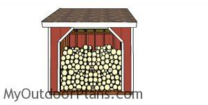 8x8 Firewood Shed Plans - front view