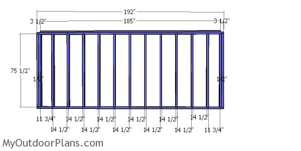 Back wall frame - 8x16 shed