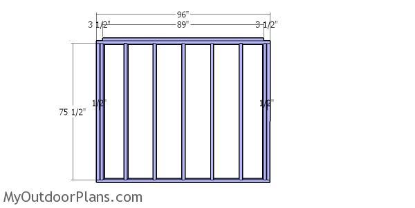 Back wall frame - 8x8 wood shed