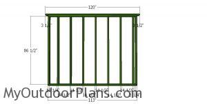 Back wall frame for large shed