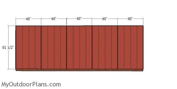 Back wall siding sheets - 8x20 firewood shed