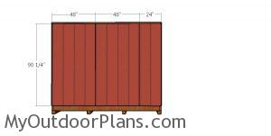 Back wall siding sheets for large shed