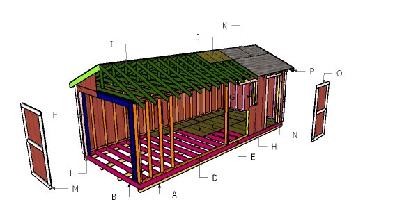 10x24 Gable Shed Roof Plans