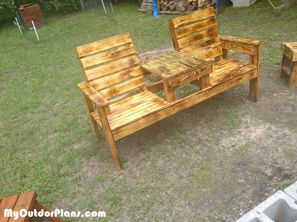 Double Chair Bench with Table for $30