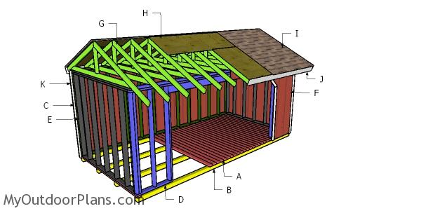 8x16 Firewood Shed Roof Plans