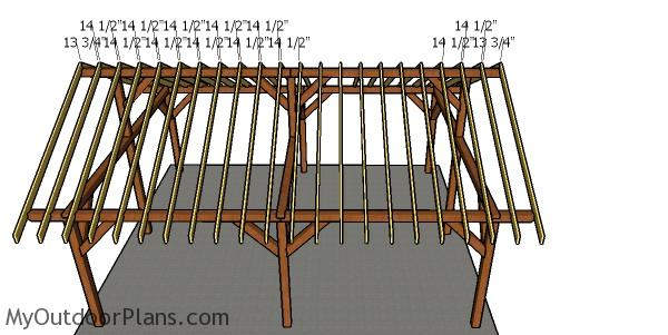 Fitting the rafters - 20x24 pavilion