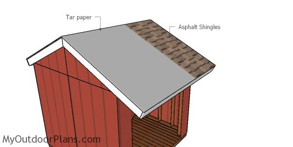 Fitting the roofing - 8x8 firewood shed