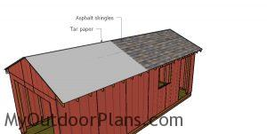 Fitting the roofing to the shed
