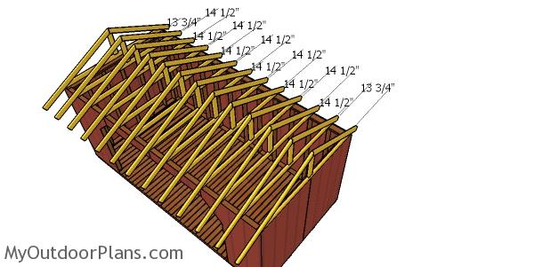 Fitting the trusses - 8x16 wood shed plans