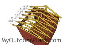 Fitting the trusses - 8x8 firewood shed