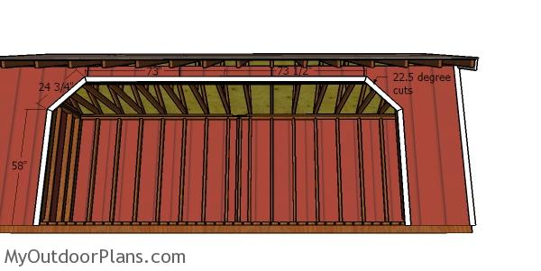 Front opening trims - 8x20 firewood shed