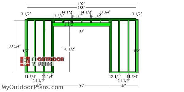 Front-wall-frame---10x16-garden-shed