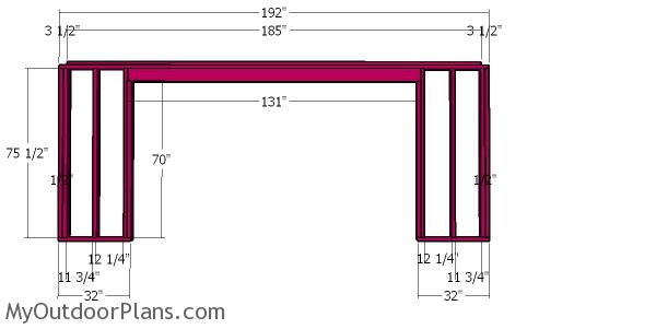 Front wall frame - 8x16 wood shed plans