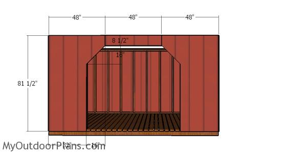 Front wall siding - 8x12 firewood shed