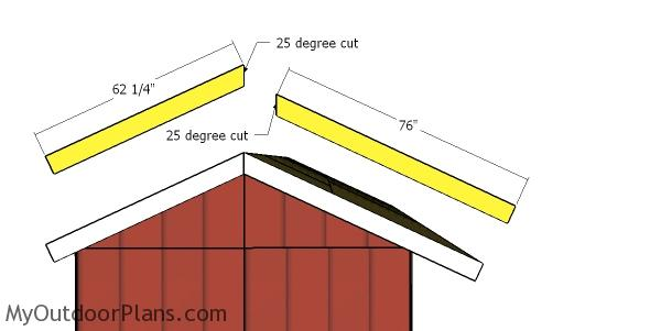 Side roof trims - 8x16 wood shed