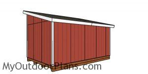 12x18 Lean to Shed Plans - back view