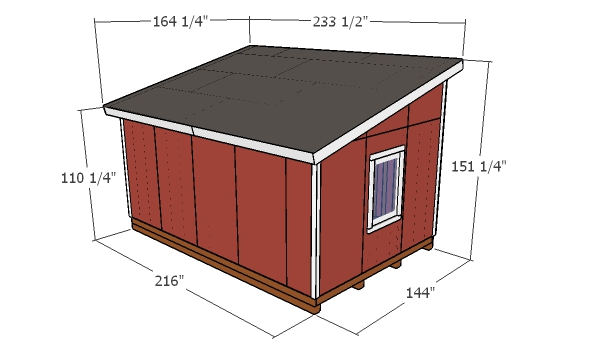 12x18 Lean to Shed Plans - overall dimensions