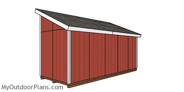 8x20 Lean to Shed Plans - back view