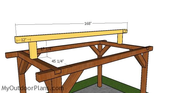 Fitting the ridge beam to the small pavilion