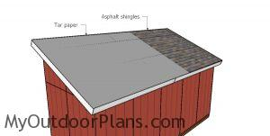 Fitting the shed roofing