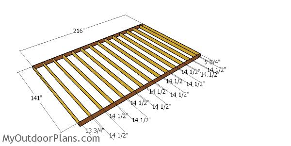 Floor frame for 12x18 storage shed