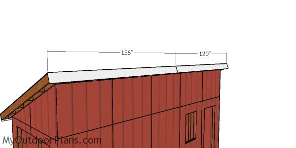 Front and back roof trims - shed